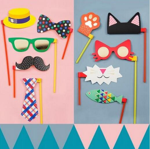 Colorful Funny Mustache Glass Hat Lovely Cat Photography Photo Booth