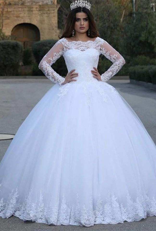 Modern Luxurious Lace Liques Long Sleeve 2016 Wedding Dresses Floor Length Tulle Ball Gown Bride Dress Custom In From Weddings Events