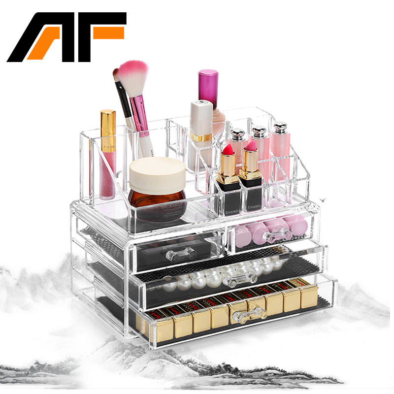 AF Makeup Organizer Storage Box Acrylic Make Up Organizer Cosmetic Organizer Makeup Storage Drawers Organizer Organiser C39 ...