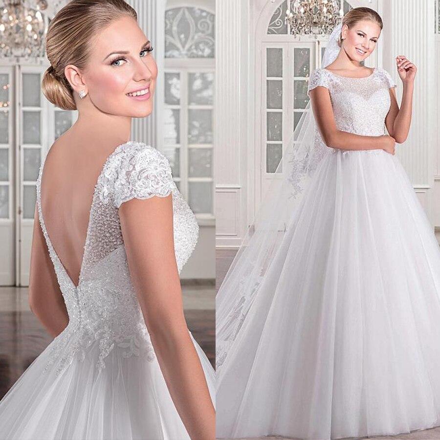 Fantastic Tulle Scoop Neckline A-line Wedding Dress With Beadings Lace Appliques Short Sleeves Bridal Dress Vestido De Noiva