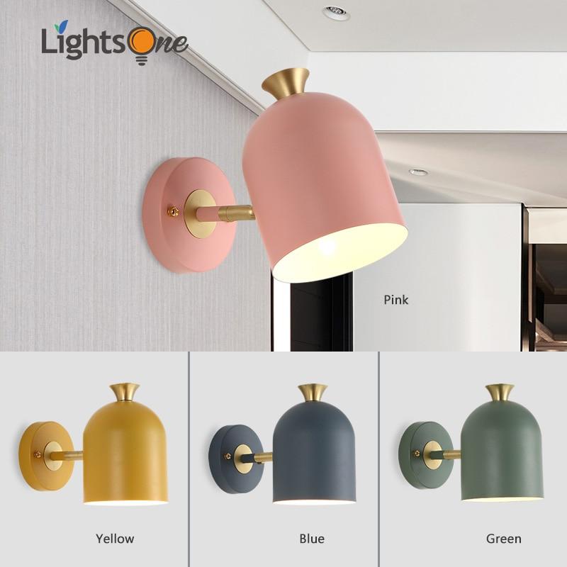 Nordic restaurant living room lighting modern minimalist creative personality macaron bedroom bedside wall lamp