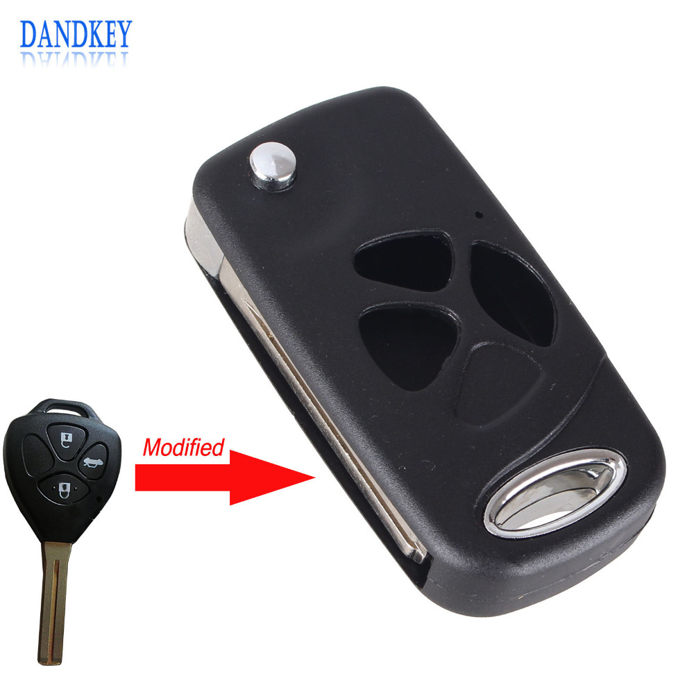 Dandkey replacement 3 buttons folding flip remote key shell case for toyota camry reiz crown with