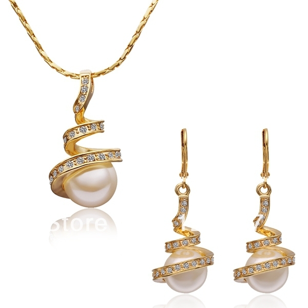 Indian Gold Jewelry Set Charm Crystal Necklaceearring Wedding