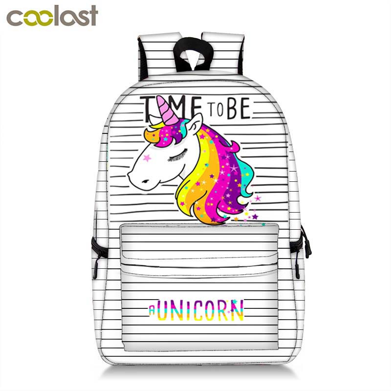 Unicorn Bag School Backpack for Teenager Girls Kawaii Cartoon Children Book Bag Kids Gift Cat Women Laptop Mochila Schoolbag free shipping 20pcs lot monsters university cartoon drawstring backpack bag children kids bag 34x27cm schoobag party gift