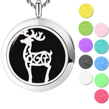 Silver Jewelry New Design Christmas Deer Aromatherapy Essential Oils Stainless Steel pendant Perfume Diffuser Locket Necklace(China)