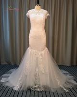 Dream Angel Elegant Button Lace Mermaid Wedding Dresses 2017 Short Sleeve Illusion Appliques Beading China Bridal