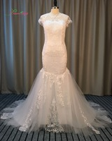 Dream Angel Elegant Button Lace Mermaid Wedding Dresses 2017 Short Sleeve Illusion Appliques Beading China Bridal