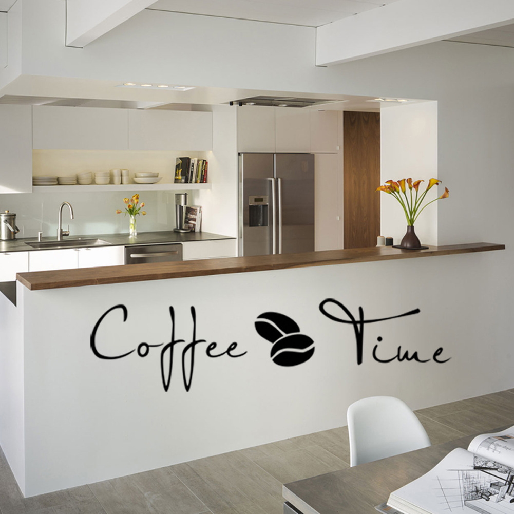 Coffee Time Quotes Vinyl Wall Sticker Classic Bean Decals For Bar Dining Room Decoration