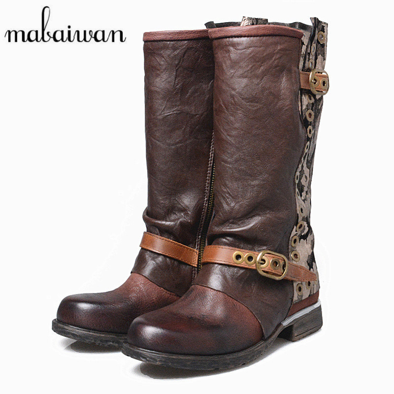 Mabaiwan Retro Wrinkled Leather Women Autumn Winter Boots Flat Riding Boot Rivets Decor Mid-Calf Platform Rubber Botas Mujer mabaiwan handmade rivets military cowboy boots mid calf genuine leather women motorcycle boots vintage buckle straps shoes woman