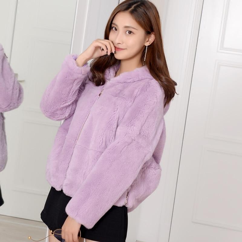 Coupe ample naturel Rex fourrure de lapin manteaux survêtement femmes à capuche courbe forme taille Zip Up réel fourrure vestes grande taille automne hiver - 2