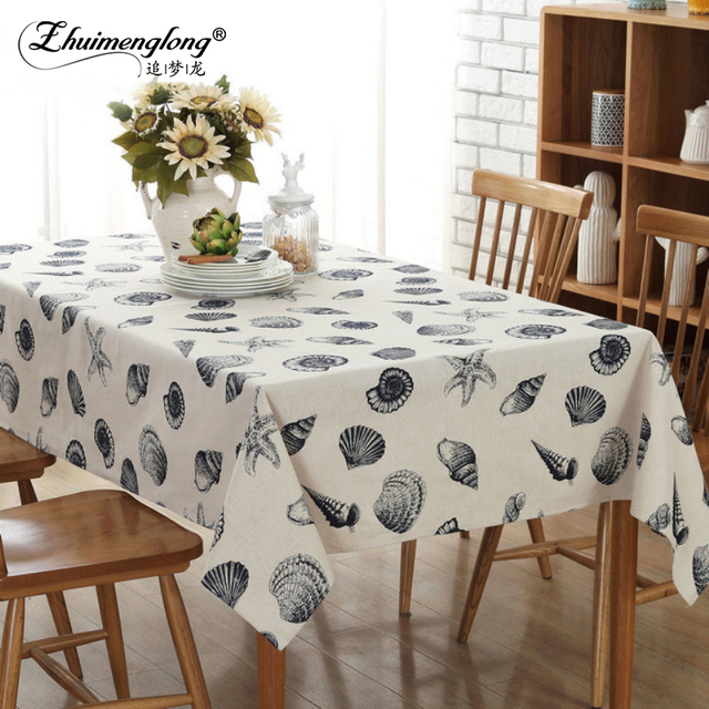 Zhuimenglong 7 Size Linen Cotton Table Cloth Rectangular/Square Washable  Tablecloth Conch Table Covers For
