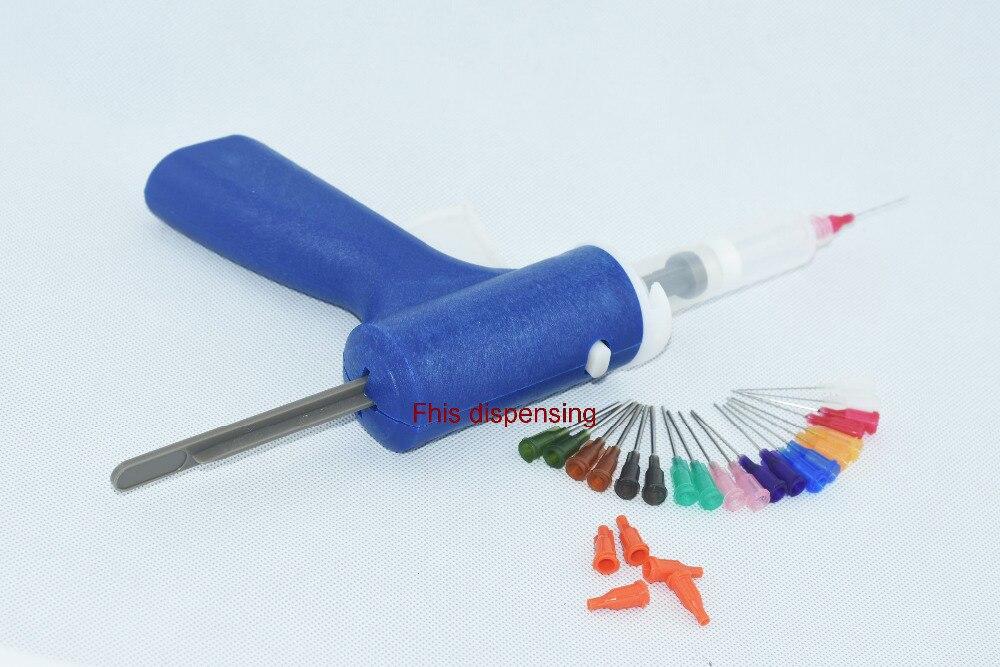 10ML manual syringe gun single liquid glue gun 10CC 10CC cones combination(blue) 100x 10ml syringe of 44