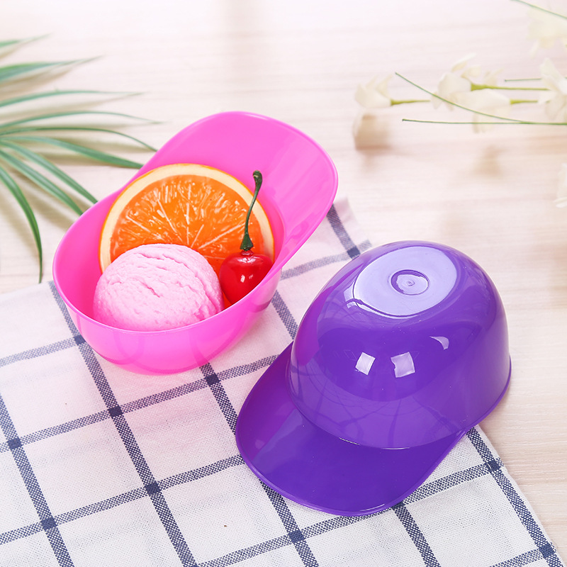 200pcs/lot Childrens Plastic Ice Cream Bowls Durable ICE Cream CUP For KIds Couples Tubs Gifts Lovely Dessert Bowl Reusable