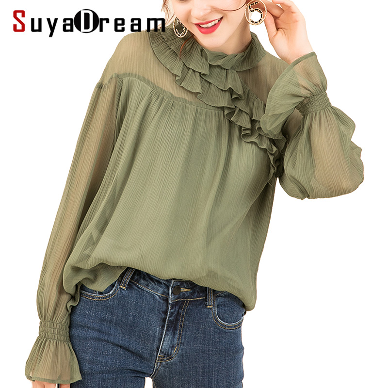 Women Blouse 100%Real silk Crinkle Georgette Long sleeved Transparent Blouses For Women 2018 Fall Winter New Top shirt