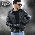 FREE SHIPPING 2017 New Men A2 Leather Pilot Jacket Black Turn-down Collar Genuine Cowhide Short Slim Fit Men Winter Aviator Coat