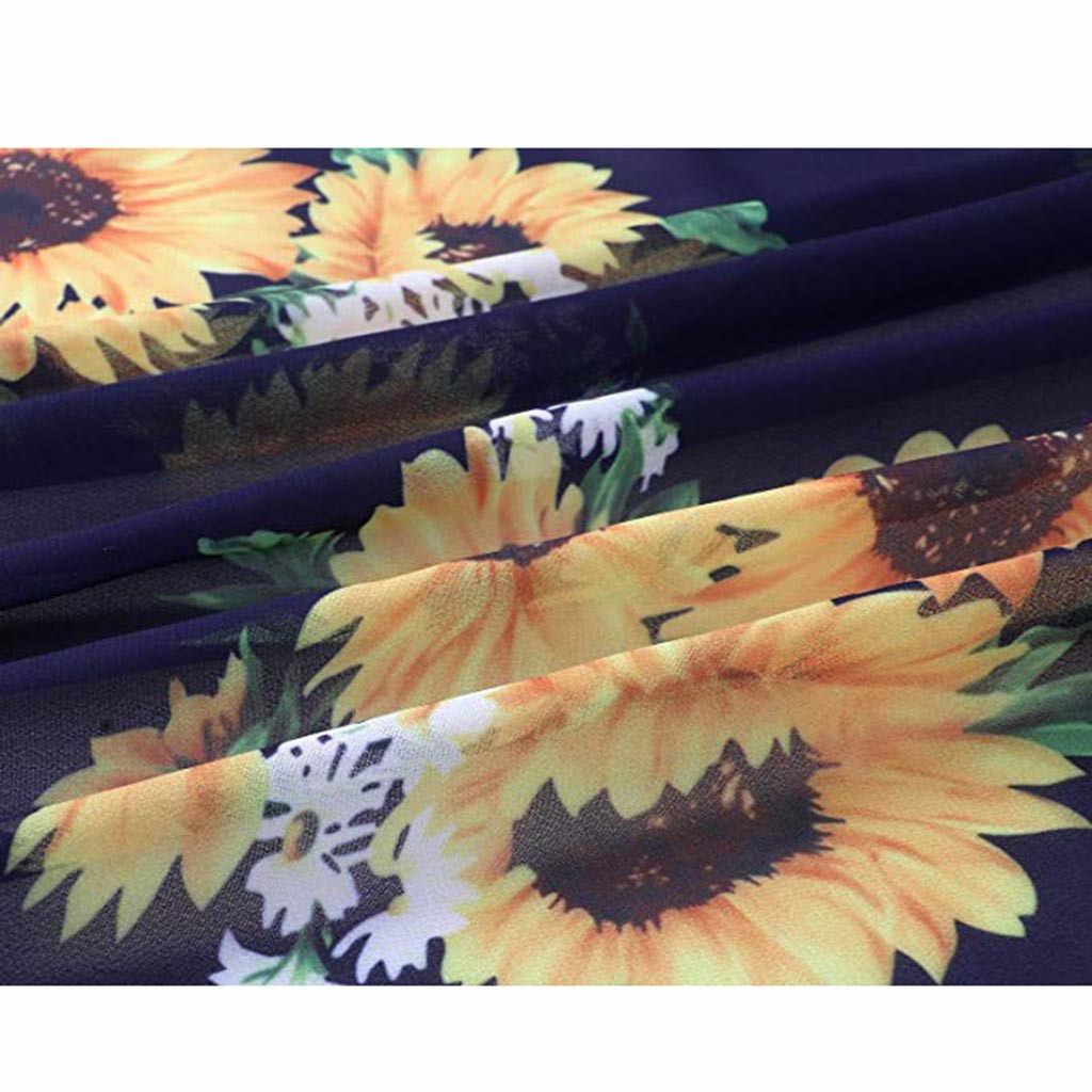 Для женщин блузка Повседневное кимоно в винтажном стиле кардиган Женские 2019 Летнее Длинное кимоно preto свободного кроя с изображением подсолнуха блузка с принтом топы черное пальто