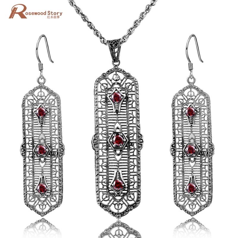 Mode mariage bijoux de mariée ensembles rouge pierre cristal bijoux ensemble 925 Sterling argent boucles d'oreilles pendentif ensemble Vintage accessoires