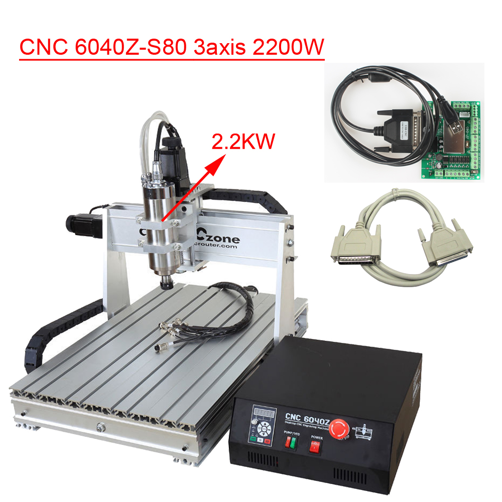6040 3axis CNC Router Machine 2.2KW DIY CNC Engraver CNC Router Engraving Milling Drilling Cutting Machine CNC6040 USB CNC 3040zq usb 3axis cnc router machine with mach3 remote control engraving drilling and milling machine free tax to russia