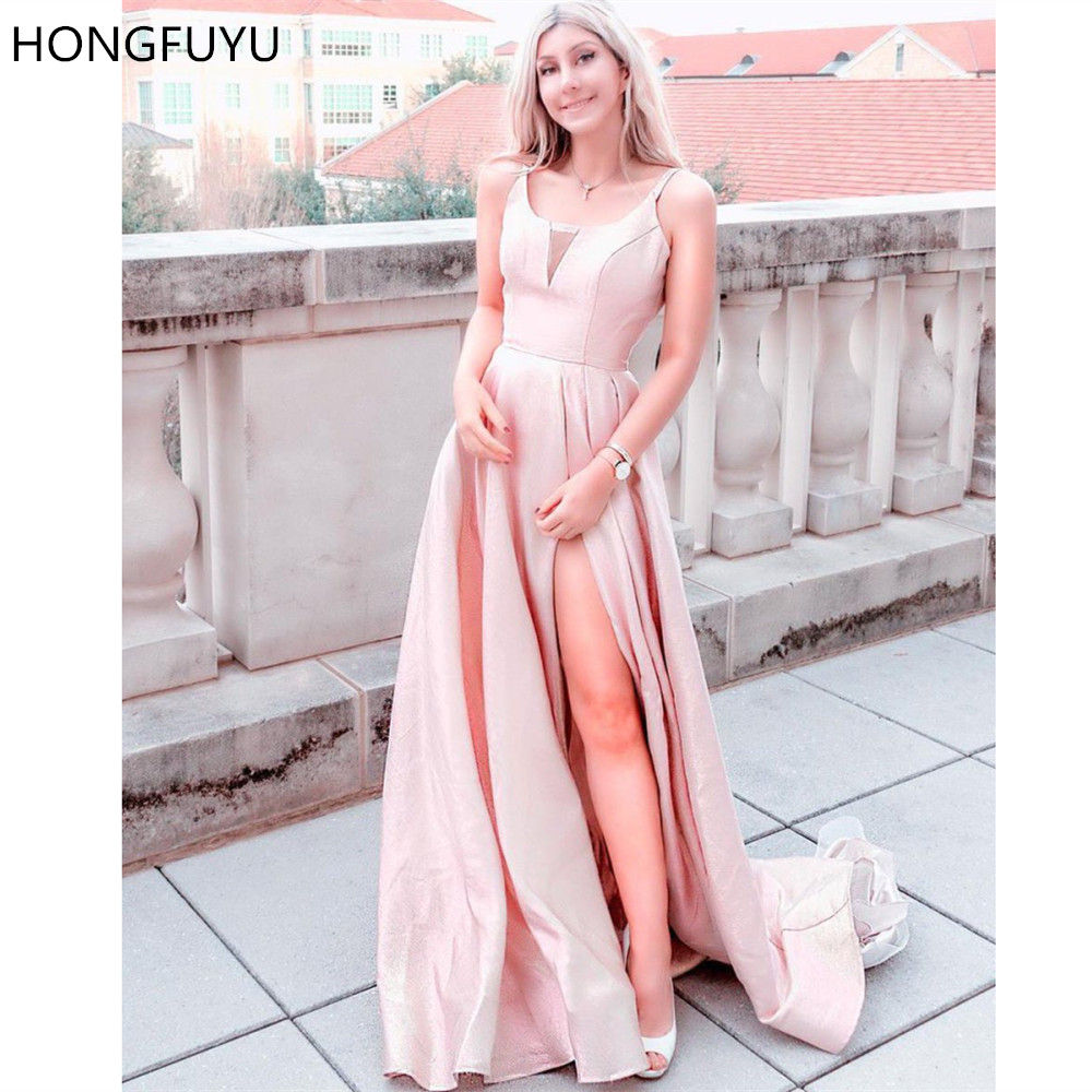HONGFUYU Metallic Sleeveless A-Line   Prom     Dresses   Scoop Neckline Formal Evening   Dress   With Pockets Slit Party Gowns Long Train