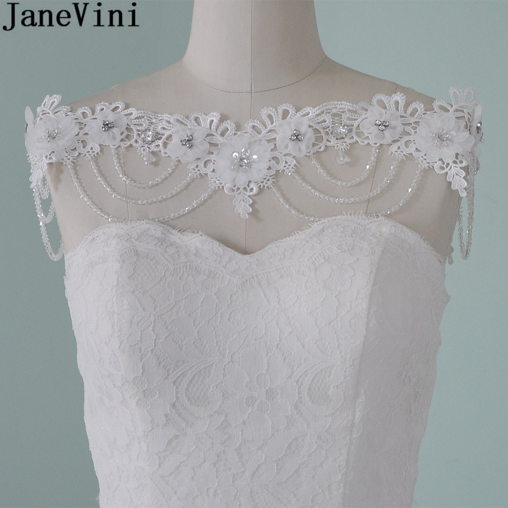 JaneVini Lace Sequins Bridal Shoulder Chain Necklace Women Pageant Crystal Beaded Flowers Wedding Shoulder Chain Jewelry Lace-Up