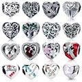 WOSTU 100% auténtico de la forma del corazón de la plata esterlina 925 granos del encanto de la marca encanto pulsera DIY Original de joyería de plata