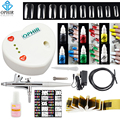 OPHIR Airbrush Complete Nail Art Set 0.3mm Air-brush with Air Compressor 6 Color Inks 10 Nail Stencil 20 False Nail Set_OP-NA003