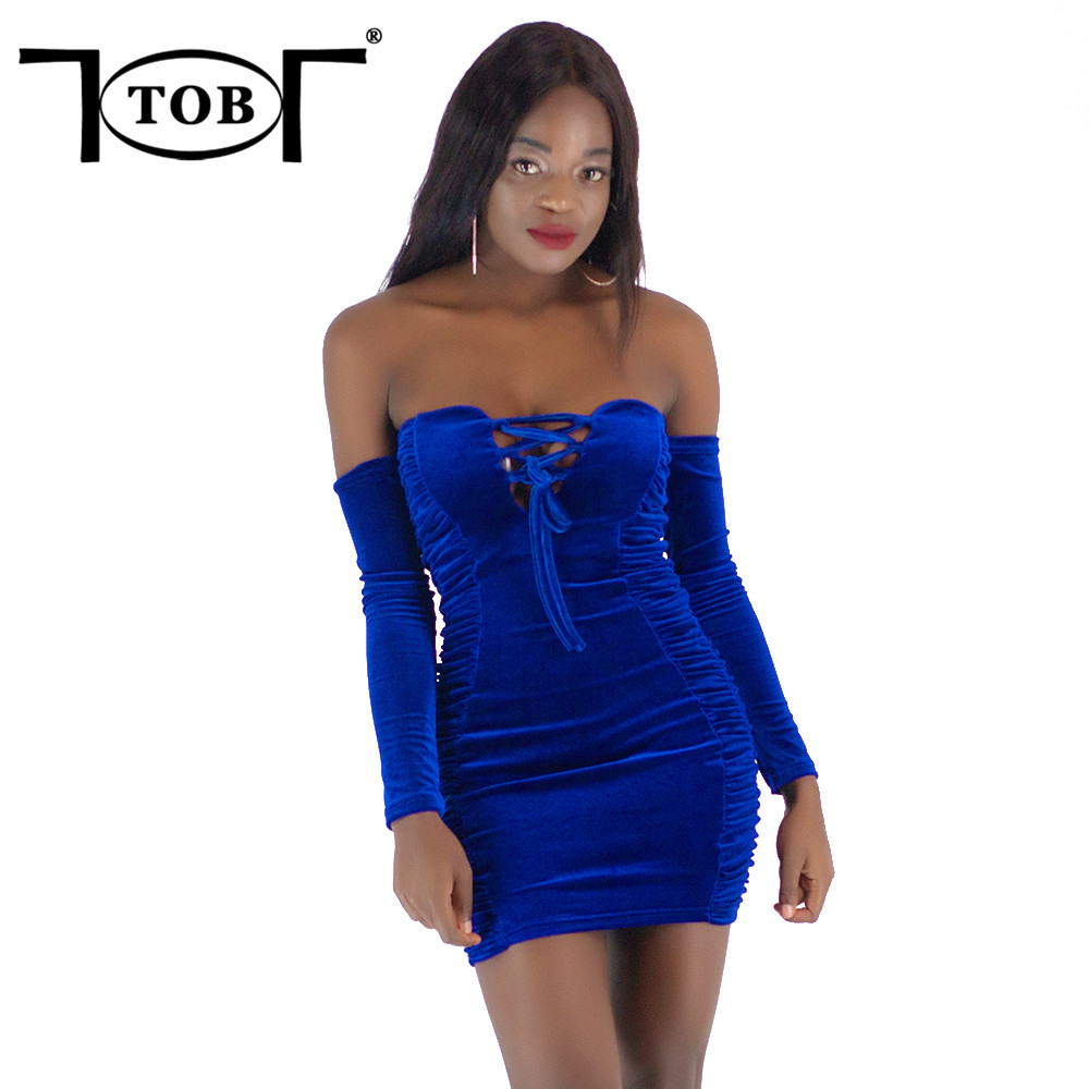 Tob Sexy Velvet Ruched Off The Shoulder Lace Up Dress -6362