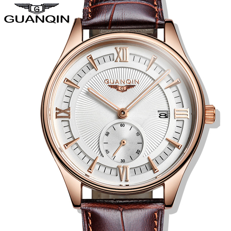 ФОТО Mens Watches Top Brand Luxury GUANQIN Casual Quartz Watch Men Leather Strap Waterproof Fashion Wristwatch Relogio Masculino