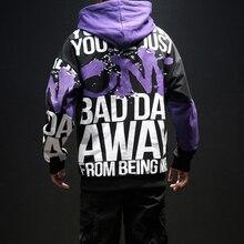 Men's Contrast Patch Printed Hoodies Hip Hop Male Casual Loose Hooded Sweatshirts Long Sleeve Sports Outdoor Hoody Sweatshirt contrast taped side hooded sweatshirt