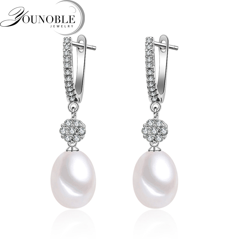 Wedding hanging christmas earrings women,freshwater natural pearl earrings silver 925 jewelry real 8-9mm pearls white box