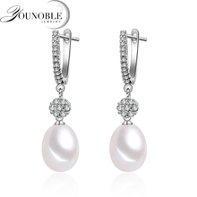 Wedding hanging christmas earrings women,freshwater natural pearl silver 925 jewelry real 8-9mm pearls white box