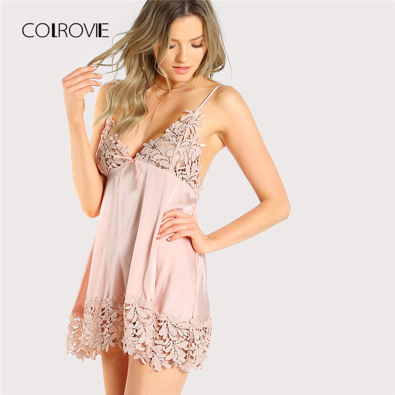 COLROVIE 2018 Guipure Lace Panel Nightdress Pink Bow Plain Sexy Sleepwear New Arrival Spaghetti Strap Women Clothing