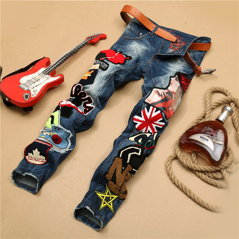 Fashion motorcycle biker blue jeans men embroidery Sequins nightclub mens patch denim pants patchwork badges moto slim straight