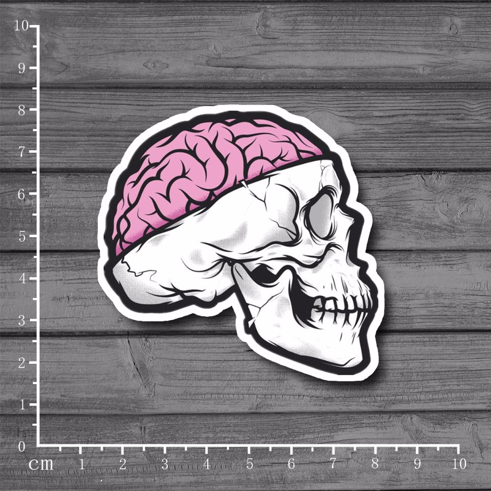 Skull Brain Waterproof Laptop Notebook Skin Stationery Graffiti Sticker Snowboard Decal For Kid Toy Suitcase Stickers[Single]
