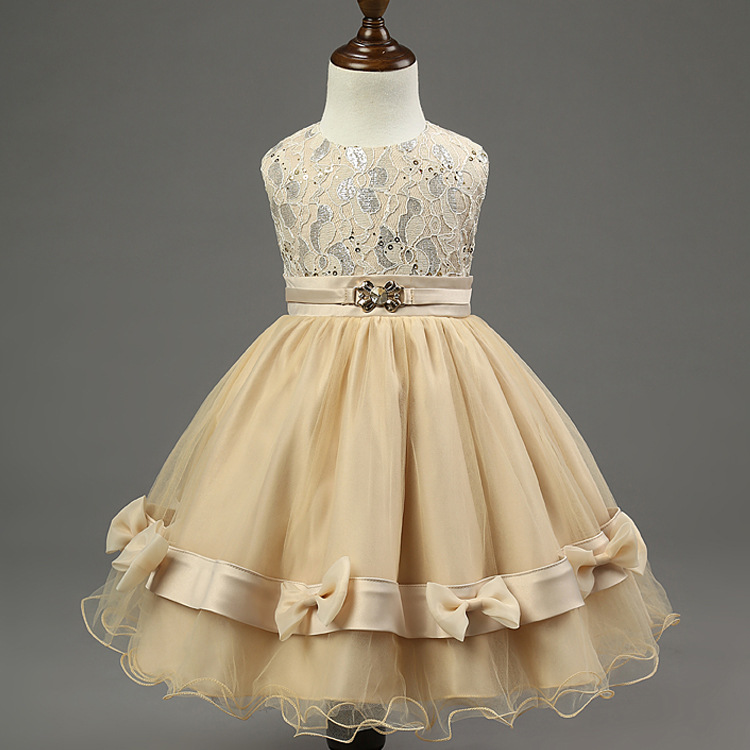 Spring and summer kids clothing girls flower dress champagne bow Princess Dress wholesaleSpring and summer kids clothing girls flower dress champagne bow Princess Dress wholesale
