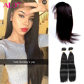 Cheap Pre Plucked 360 Lace Frontal With Bundle Brazilian Straight Human Hair 360 Lace Closure 3pcs/Lot 360 Frontal With Bundles