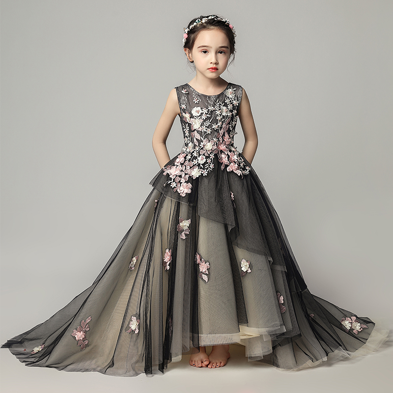 Luxury Black Embroidery Girls Holy Communion Dress Backless Kids Pageant Dress for Birthday Lace Floral Princess Party Gowns