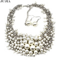 New Z design fashion luxury pendant choker Necklace mixed statement  jewelry imitation pearl collar necklace & pendant set
