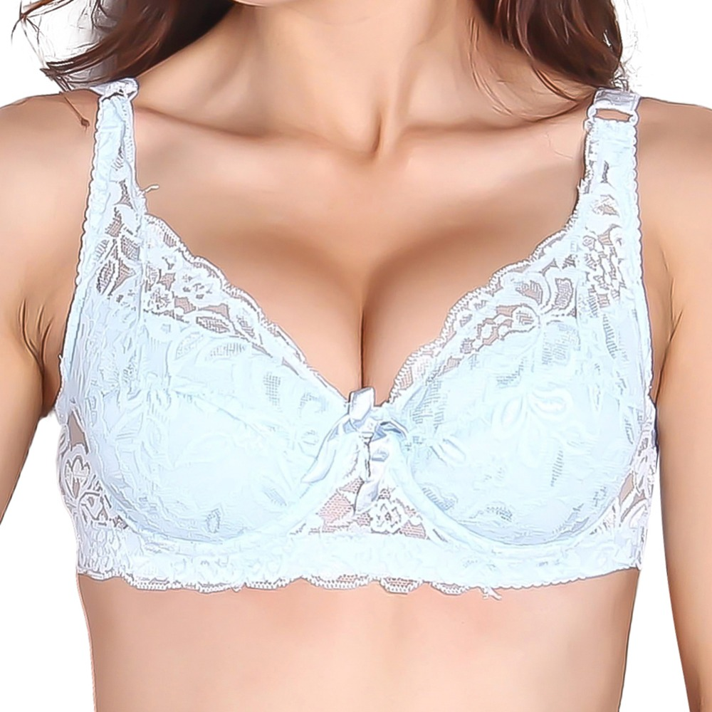 Sexy Gather Push Up Bra Underwire 5/8Cup Lace Brassiere Underwear 32/34/36/38/40 Lady