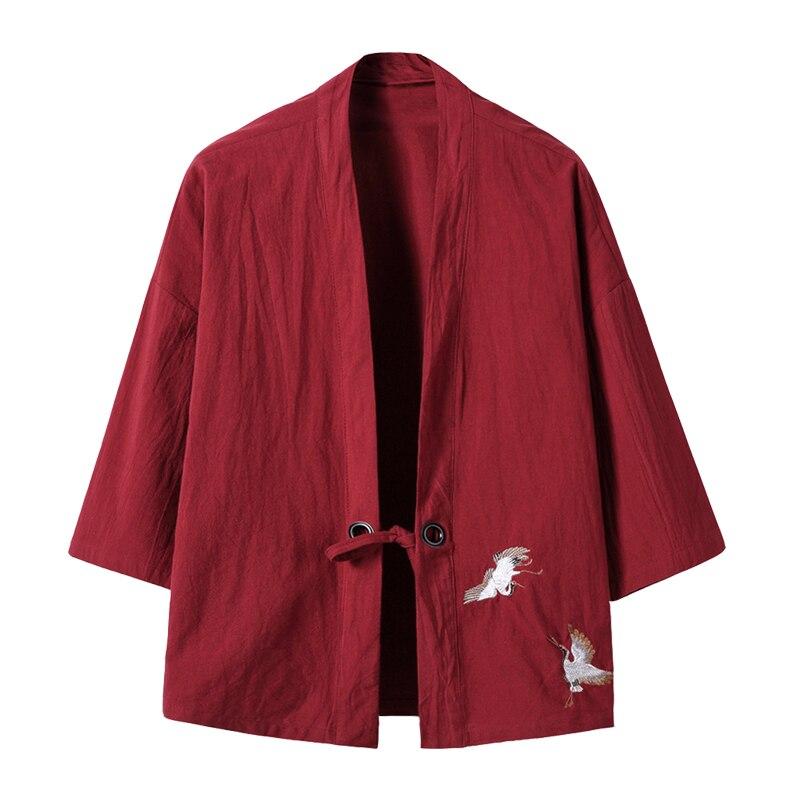 new arrival 2017 men's cotton linen blends vintage emboridery Cranes open front cardigan loose breathable short kimono