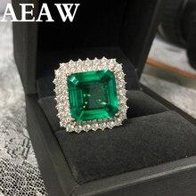 Feine Schmuck Echt 14K Rose Gold 8ct AAA Kolumbianischen Lab Grown Smaragd wie Natürliche mit Moissanite Edelstein Hochzeit Ringe