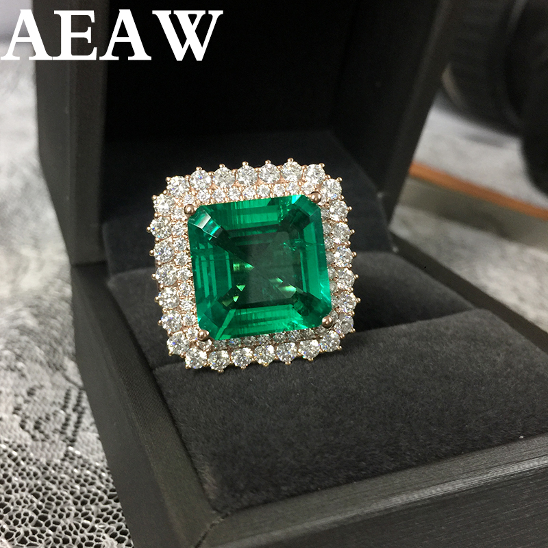 Fine Jewelry Real 14K Rose Gold 8ct AAA Colombian Lab Grown Emerald like Natural with Moissanite Gemstone Wedding Rings-in Rings from Jewelry & Accessories