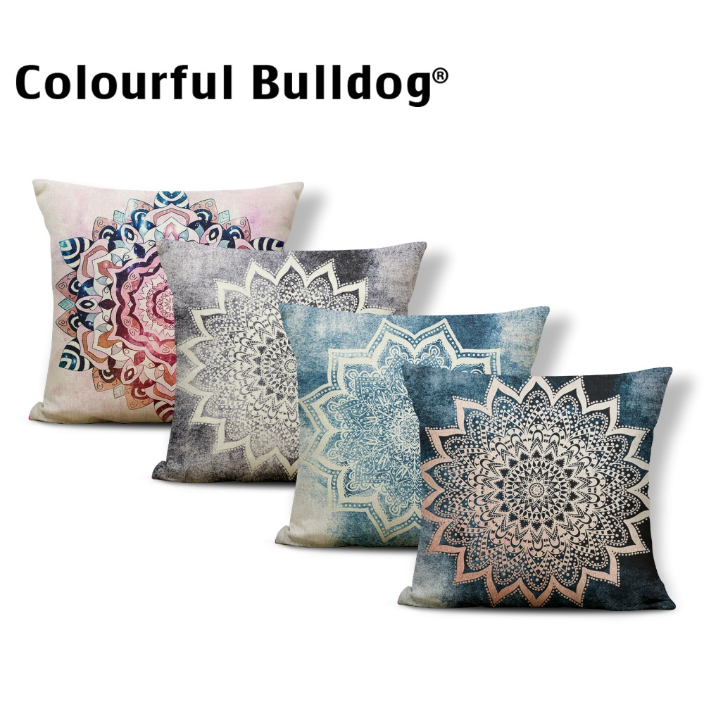 Datura Lotus Cushion Covers Geometry India Chakra Stripe Pillow Cover Decorations Throw Pillow Covers 45X45Cm Linen Customized