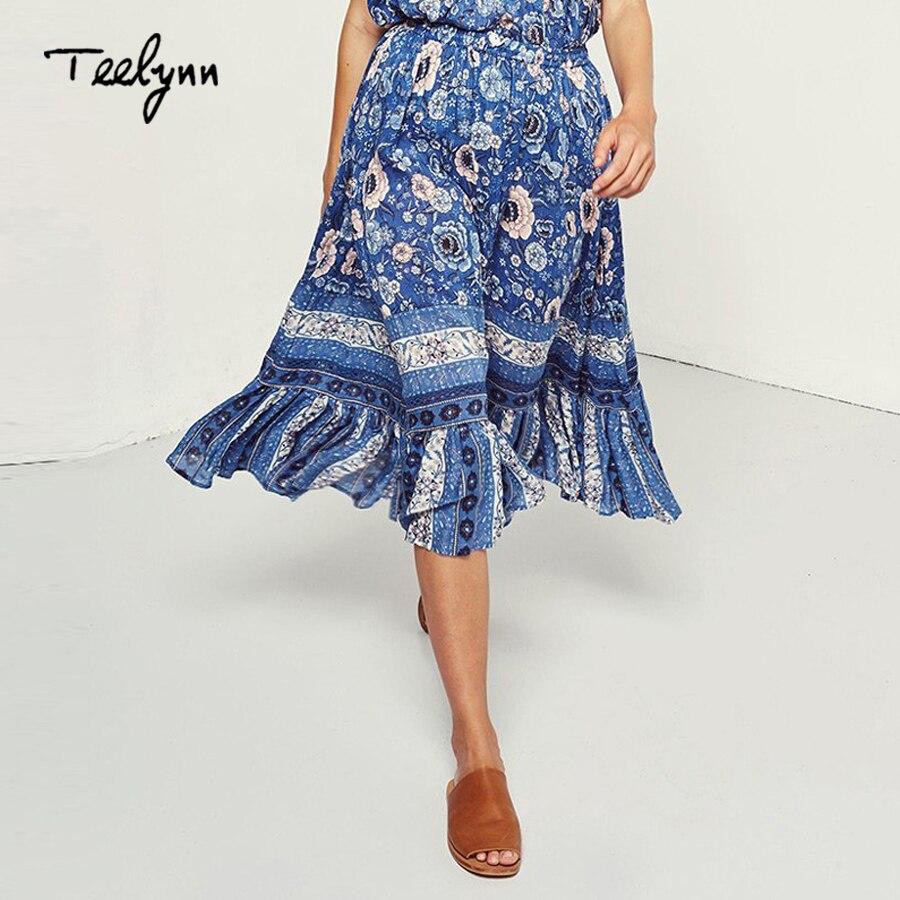 TEELYNN summer Women skirts Large swing Long boho skirt 2018 new blue floral print elastic waist