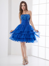 A-linie Royal Blue Kurze abschlussball Kleider Ballkleid Organza Tiered Cocktailkleider Für Mädchen Junioren cd7023