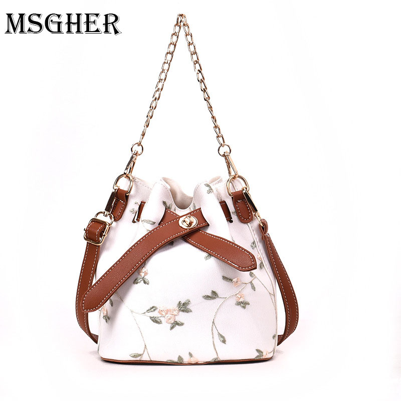 M.S Chain Buckets Women Flower Embroidery Bags Cute Candy Color Bow Tie Bag Female Casual Crossbody Bucket Woman Handbags WB708