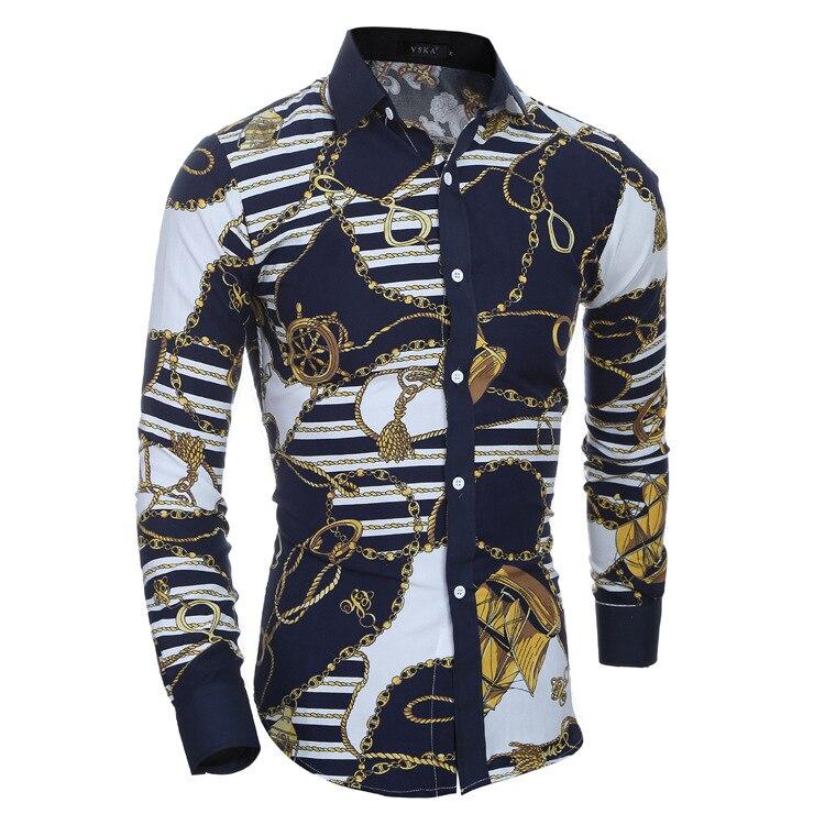 68edbf1f5f74 2017 Fashion Retro Floral Printed Men Casual Shirts Classic Men Dress Shirt  Men's Long Sleeve Brand New Fashion Spring Shirts