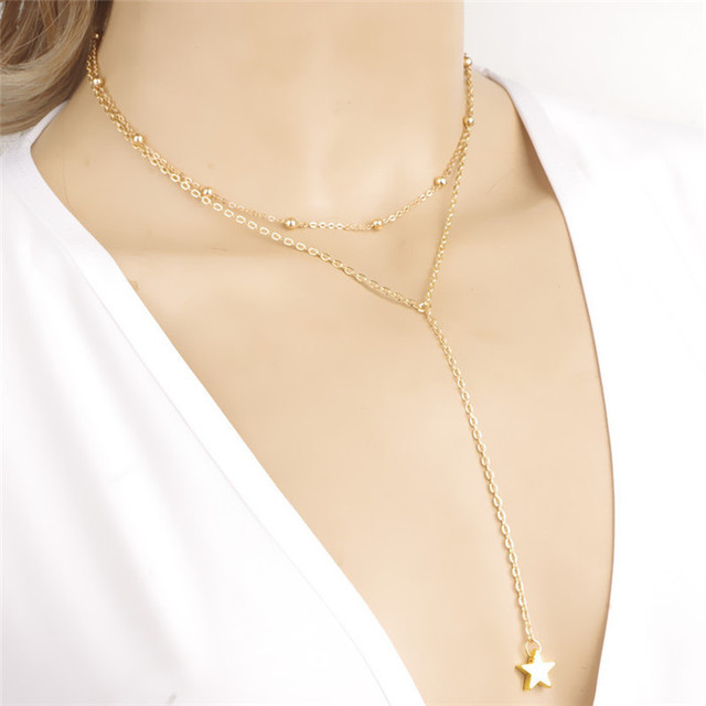 New Fashion Long Tassel Star Pendant Simple Gold Necklace Beads