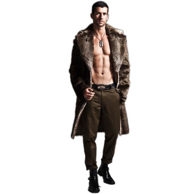 Invierno Mens Ecológico Faux Fur Coat Chaquetas de Longitud Completa Tamaño 4XL de Los Hombres Largos Abrigos Parka Rompevientos Outwear Abrigo