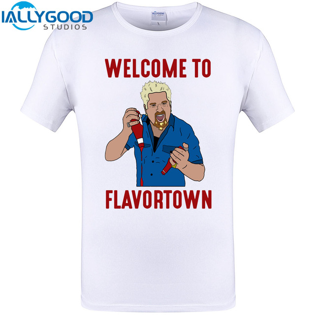 e249973a Welcome to Flavor town Cool Design T Shirt New Arriva Summer Cotton Printed Guy  Fieri Hip Hop Tops Creative Plus Size Tee 5XL